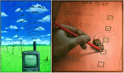Ilustración de Pawel Kuczynski - Telefonía móvil y Conducción