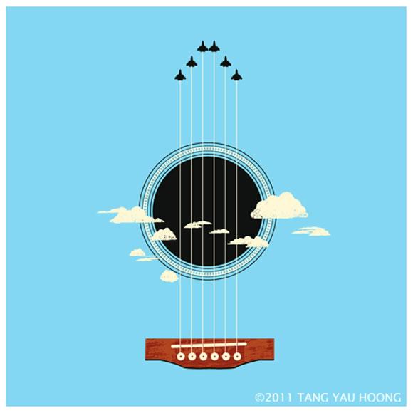 Sky Guitar - Ilustración de Tang Yau Hoong.