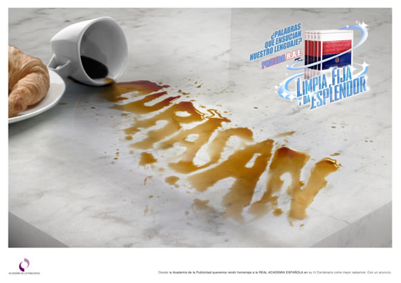 Gráfica de la Academia de la Publicidad para felicitar a la RAE por su III Centenario - Curasán