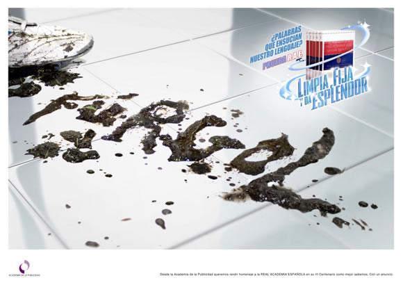 Gráfica de la Academia de la Publicidad para felicitar a la RAE por su III Centenario - Furgol