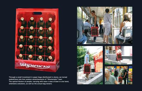 Ejemplo de bagvertising para Carlsberg