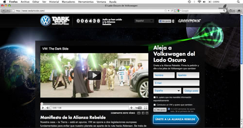 """Greenpeace parodia el popular spot """"The Force"""" en su campaña contra Volkswagen como denuncia por su contaminación"""
