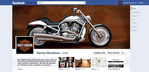 Prototipo del nuevo Timeline de Facebook para marcas - Harley Davidson