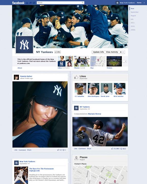 Prototipo del nuevo Timeline de Facebook para marcas - NY Yankees