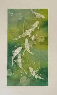 """""""Peixos Koi II"""" de Virginia Izquierdo (aguafuerte y aguatinta)"""