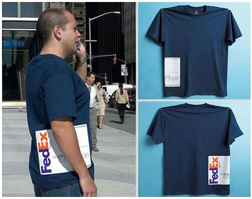 Publicidad en camisetas de la marca FedEx. Gran ejemplo de creatividad.