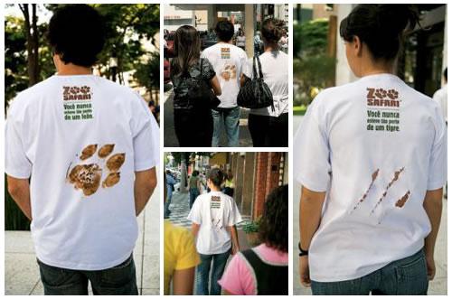 Publicidad creativa en camisetas.